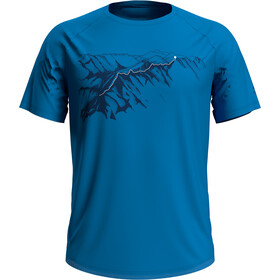 Odlo Concord Crewneck T-shirt Heren, blue aster/mountain print